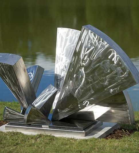 Gregory Johnson  (Georgia, b. 1955)  Angles of Repose , 2013  Stainless steel on granite sub-base