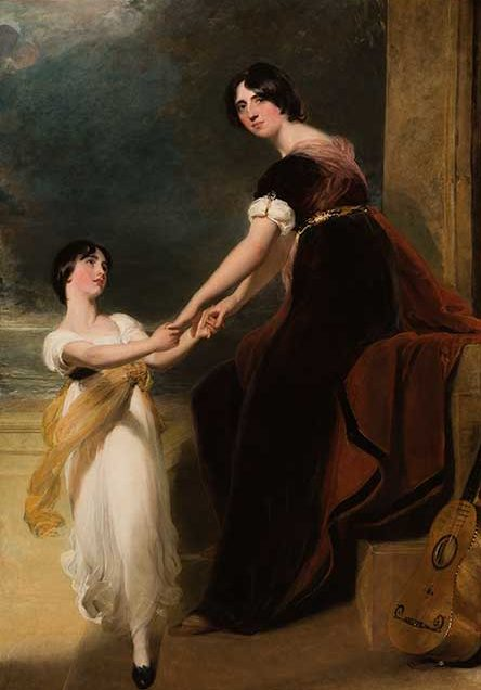Thomas Lawrence (English, 1769–1830)  Portrait of Susan, Countess of Guilford, and Her Daughter Georgiana, about 1812  Oil on canvas  82 5/8 x 58 in. (209.9 x 147.3 cm.)  95 1/2 x 71 9/16 x 4 5/8 in. (242.6 x 181.8 x 11.7 cm.) (frame)  Collection of the Speed Art Museum, Purchase, Museum Art Fund 1959.2