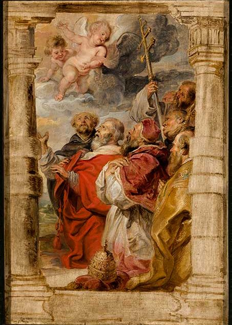 Peter Paul Rubens (Flemish, 1577–1640)  The Princes of the Church Adoring the Eucharist, about 1626-1627  Oil on panel  26 1/4 x 18 5/16 in. (66.7 x 46.5 cm.)  36 3/4 x 29 x 3 1/8 in. (93.3 x 73.7 x 7.9 cm.) (frame) Collection of the Speed Art Museum, Gift in memory of George W. Norton IV, by his mother, Mrs. George W. Norton, Jr. and his aunt, Mrs. Leonard T. Davidson 1966.16