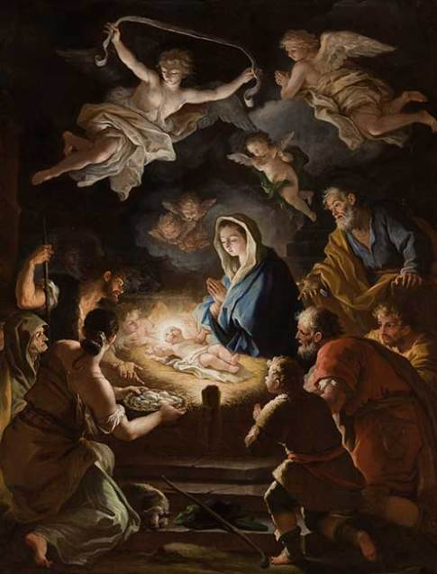 Paolo de'Matteis (Italian, 1662–1728)  The Adoration of the Shepherds  Oil on Canvas  60 x 50 in.  69 3/16 x 59 5/16 x 2 7/8 in.  Collection of the Speed Art Museum, Gift of the Charter Collectors 1971.42.1