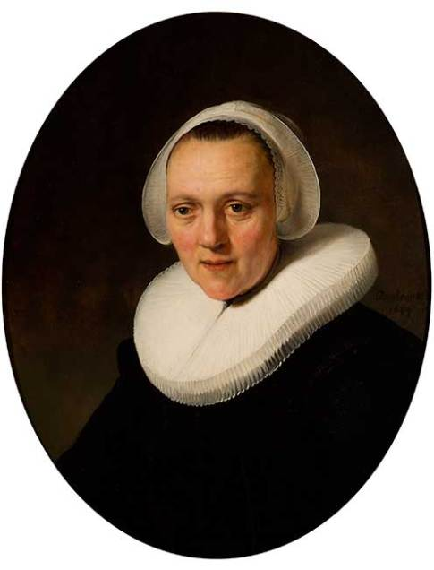 Rembrandt van Rijn (Dutch, 1606–1669)  Portrait of a Forty-Year-Old Woman, possibly Marretje Cornelisdr. van Grotewal, 1634  Oil on panel  27 7/16 x 22 in. (69.7 x 55.9 cm.)  37 11/16 x 32 1/8 x 3 in. (95.7 x 81.6 x 7.6 cm.) (frame)  Collection of the Speed Art Museum, Purchased with funds contributed by individuals, corporations and the entire community of Louisville, as well as the Commonwealth of Kentucky