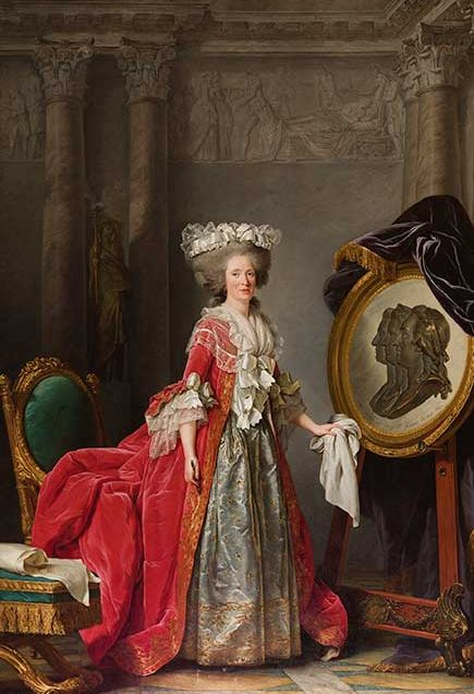 Adélaïde Labille-Guiard (French, 1749–1803)  Portrait of Madame Adélaïde, about 1787  Oil on canvas  107 3/4 x 73 3/4 in. (273.7 x 187.3 cm.)  136 1/2 x 88 3/8 x 5 in. (346.7 x 224.5 x 12.7 cm.) (frame)  Collection of the Speed Art Museum, Gift of Mrs. Berry V. Stoll 1982.21