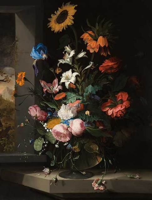 Jacob van Walscapelle (Dutch, 1644–1727)  Floral Still Life, 1681  Oil on canvas  40 1/4 x 35 3/16 in. (102.2 x 89.3 cm.)  49 x 43 13/16 x 2 1/8 in. (124.5 x 111.3 x 5.4 cm.) (frame)  Collection of the Speed Art Museum, Gift of Eleanor Bingham Miller and Barry Bingham, Sr., in honor of Mary Caperton Bingham 1987.1