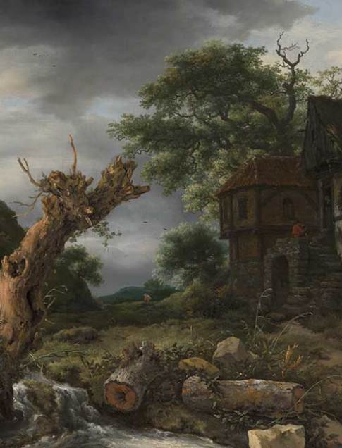 Jacob van Ruisdael (Dutch, 1628/1629–1682)  Landscape with a Half-Timbered House and a Blasted Tree, 1653  Oil on canvas  26 5/8 x 32 3/8 x 7/8 in. (67.6 x 82.2 x 2.2 cm.)  36 1/4 x 42 1/8 x 4 in. (92.1 x 107 x 10.2 cm.) (frame)  Collection of the Speed Art Museum, Museum purchase 1998.3