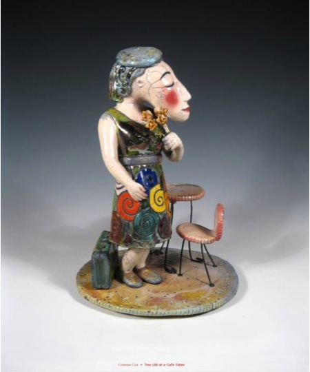 Corinne Cox (Wedowee, Alabama, b. 1955) Très Lilli at a Café Table, 2012 Clay and metal 12 H x 8 W x 8 D inches