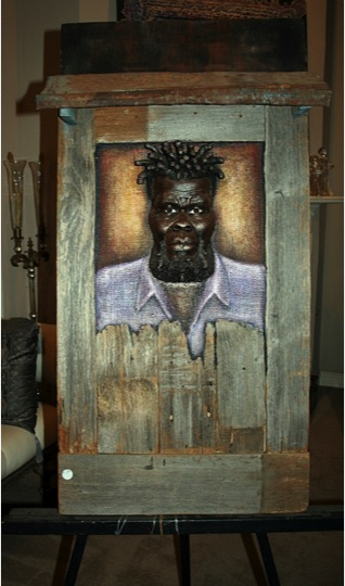"Harold Miller  (Brandon, Mississippi, b. 1957)  Rum Bar, 2013 Clay, tin, wood, acrylic paint  4' T x 2' W x 3"" D"