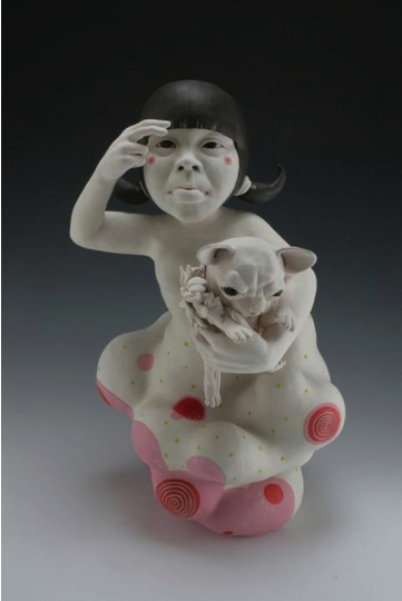 Kyungmin Park (Auburn, Alabama, b. 1985)  My Preciousness, 2012  Porcelain, under glaze, glaze, resin  23 H x 12 W x 12 D inches