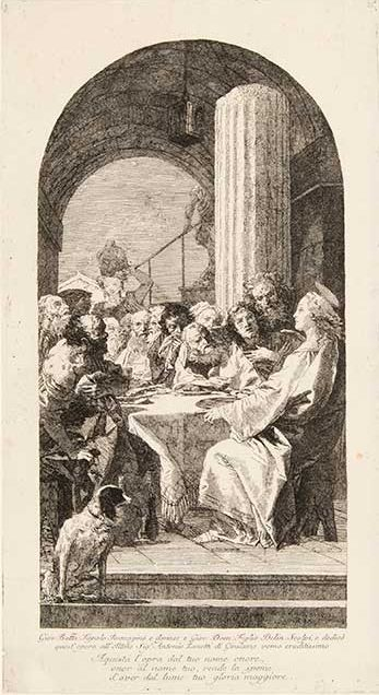 Giovanni Domenico Tiepolo (Italian, 1727–1804) After Giovanni Battista Tiepolo (Italian, 1696–1770) Cena Domini (The Last Supper) Etching First state of two Courtesy Pia Gallo