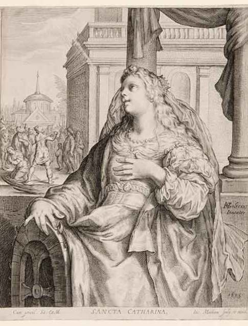 Jacob Matham (Dutch, 1571–1631) After Hendrik Goltzius (Dutch, 1558–1617) Saint Catherine, 1615 Engraving Courtesy Pia Gallo