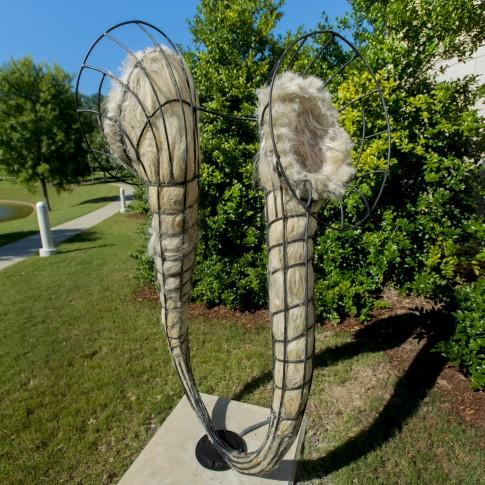 Joni Younkins-Herzog (Florida, b. 1969) Delirium, 2013 Steel, abaca fiber, horse hair, artificial human hair, and audio