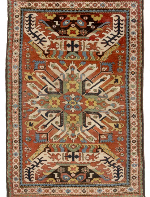 "Karabagh rug, Chelaberd area, mid-19th  century, 4'6"" x 6'5"", called ""Eagle Kazak"" in the rug trade, Collection of Larry Gerber"