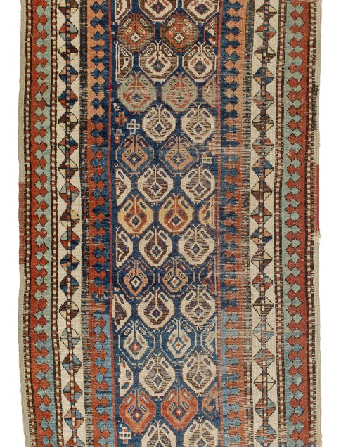 "Transcaucasian rug, late 19th century, 3'5"" x 9'7"", Collection of Larry Gerber"
