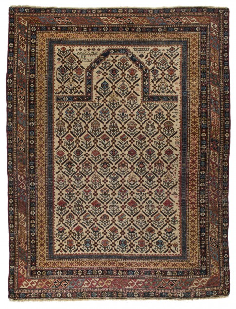"Dagestan Prayer Rug , signed by weaver and  dated 1884, 3'11"" x 5'3"", collection of Larry Gerber"
