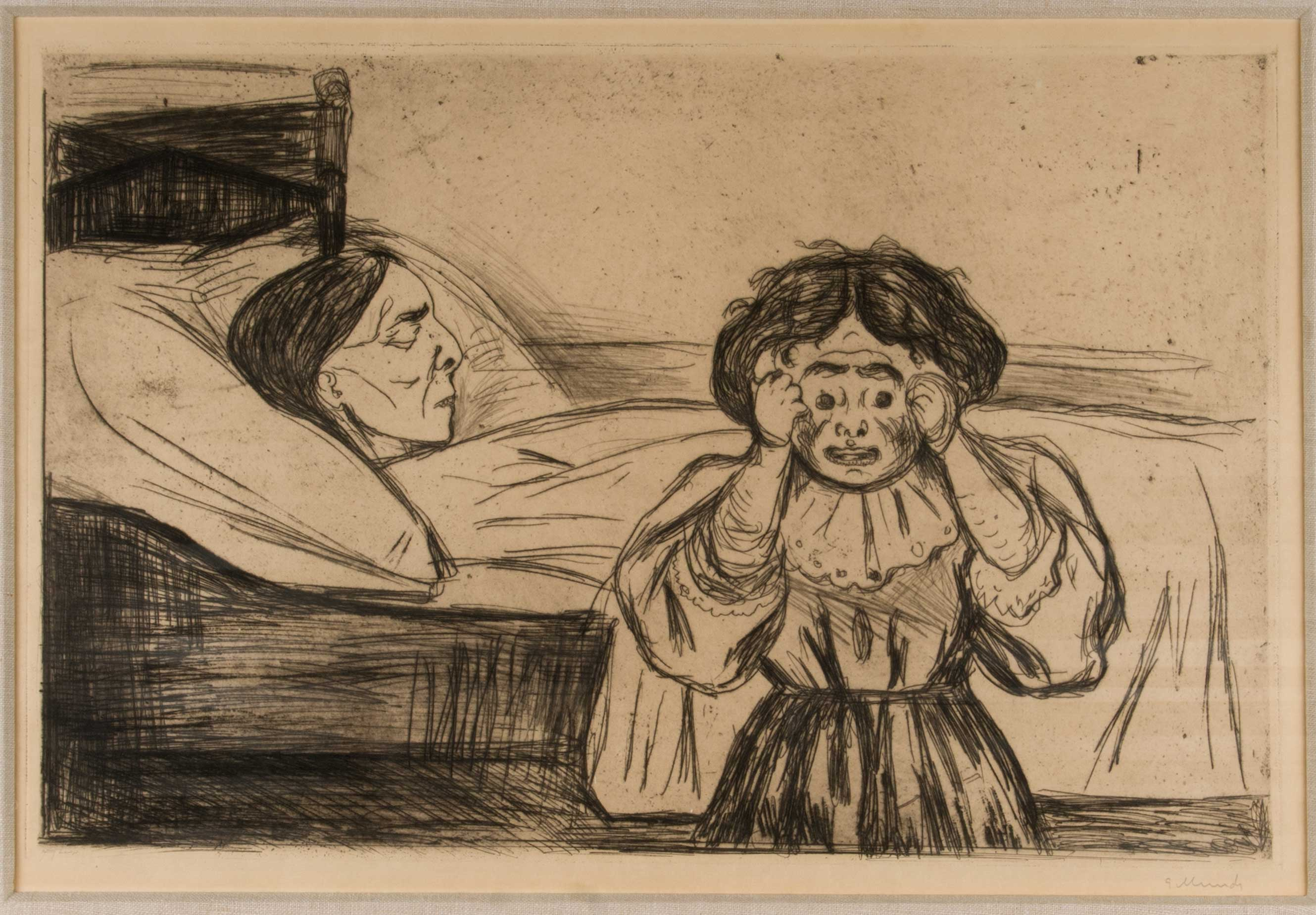 Edvard Munch (Norwegian, 1863–1944), The Dead Mother and Her Child, 1901, Etching and drypoint, 12 ¼ x 19 inches