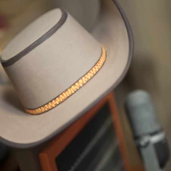 "Detail of JCSM'S new animatronic donation box, ""Artful Dodger,"" by John Morgan."