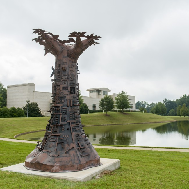 Charles Pilkey  (North Carolina, b. 1956), Tree of Good and Evil, 2012, painted steel and bronze, ca. 120 x 72 x 72 inches