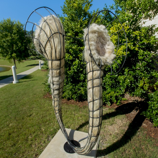Joni Younkins-Herzog (Florida, b. 1969), Delirium, 2013, steel, abaca fiber, artificial human hair, and audio, ca. 94 x 42 x 42 inches