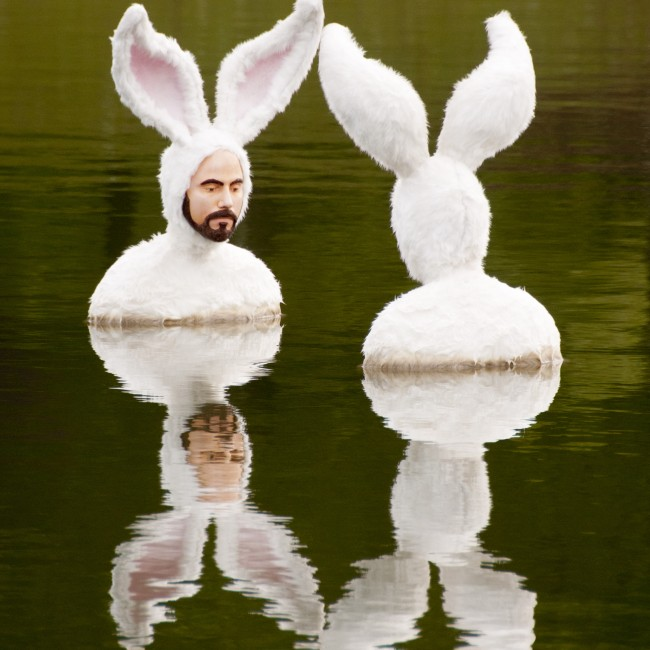 Alex Podesta (Louisiana, b. 1973), Self-Portrait as Bunnies (The Bathers), 2014, mixed media floating sculpture, ca. 54 x 26 x 20 inches above the waterline