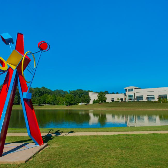 Hanna Jubran (North Carolina, b. 1952), Triad, 2015, steel and paint, ca. 188 x 108 x 96 inches