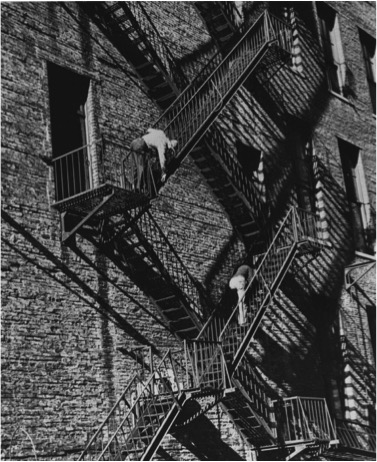 André Kertész (American, b. Hungary, 1894–1985) Fire Escape, New York, 1949 Vintage gelatin silver print Courtesy of Bruce Silverstein Gallery