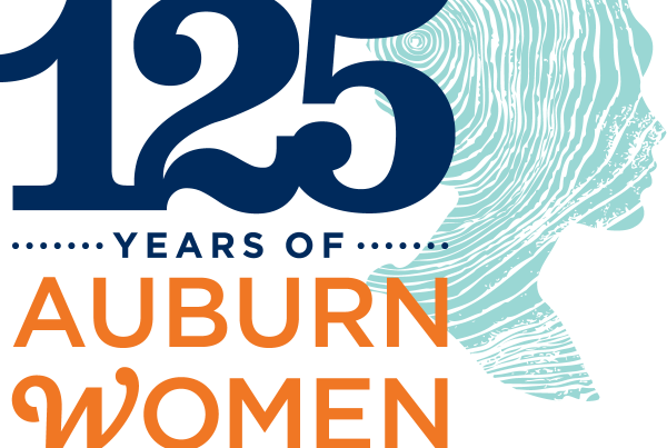Logo celebrating 1892-2017 and Auburn women
