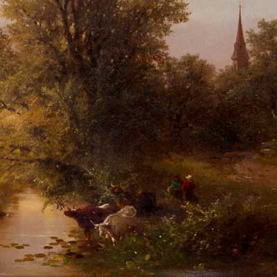 Detail of Farmers bringing cows down to a river.