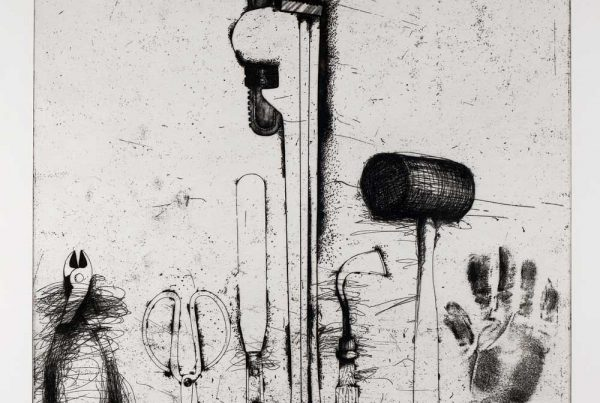 An etching of hand tools