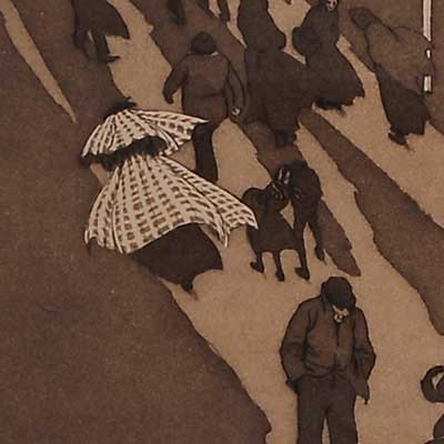 Detail of people walking in the cold