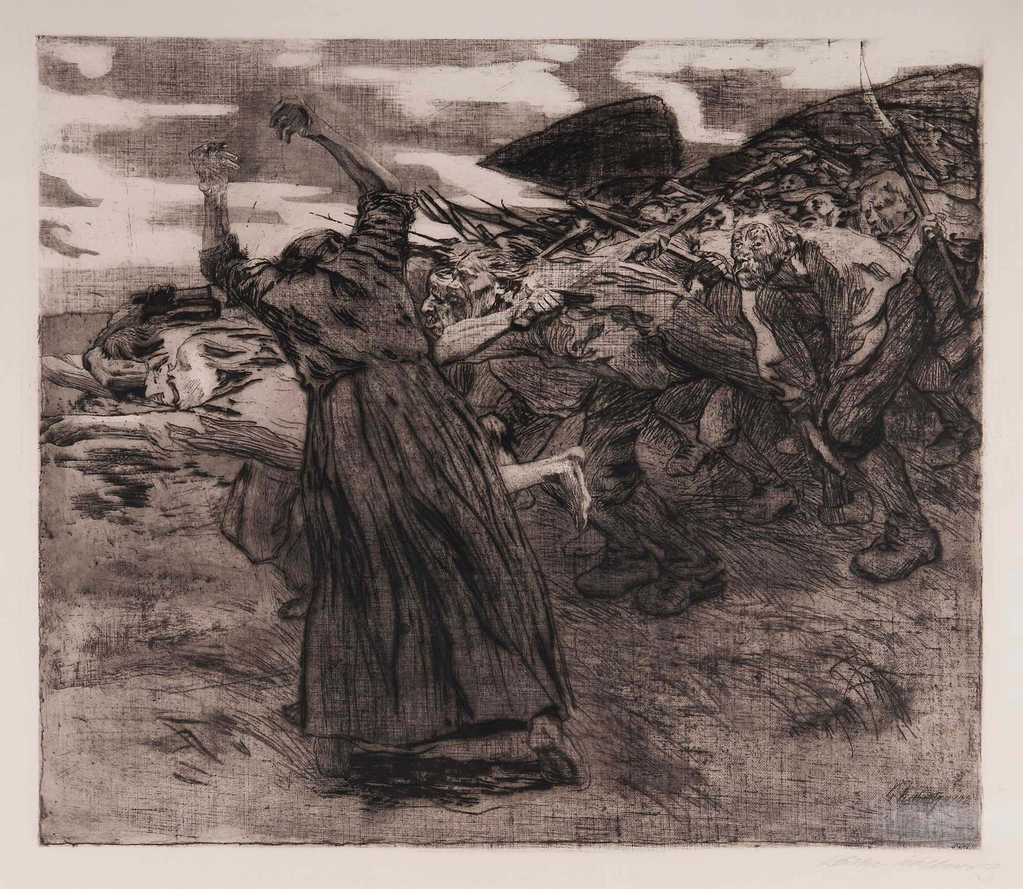 Print depicting a scene of a revolt