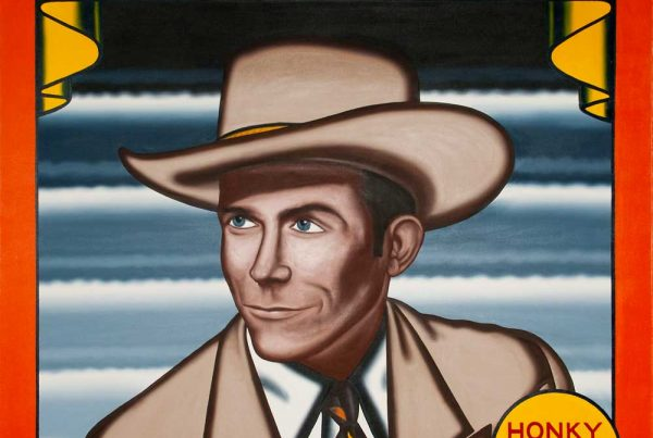Portrait of Hank Williams, Sr. in the style of record labels and carnival banners