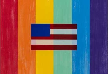 Rainbow Pride Flag with American Flag representation superimposed