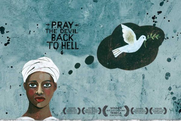 artwork from the film showing a head-covered woman and a dove with olive branch.