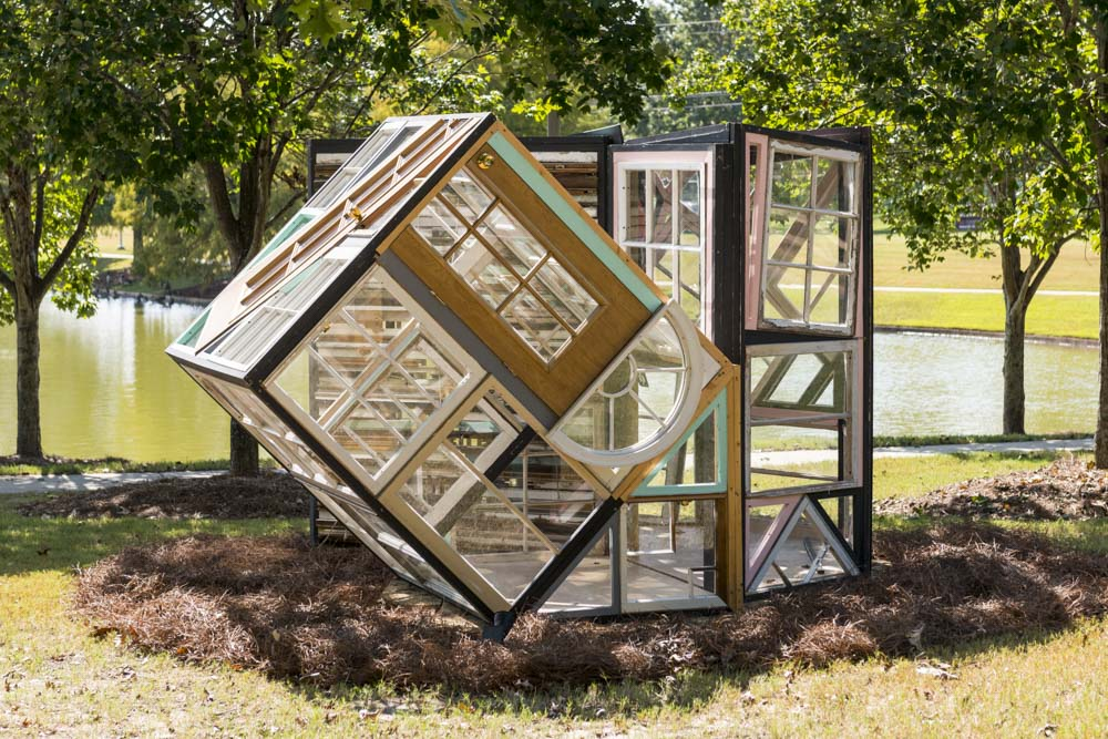 Fumi Amano (Washington, b. 1985) Voice, 2017 Old window frames, wood, and sheet glass