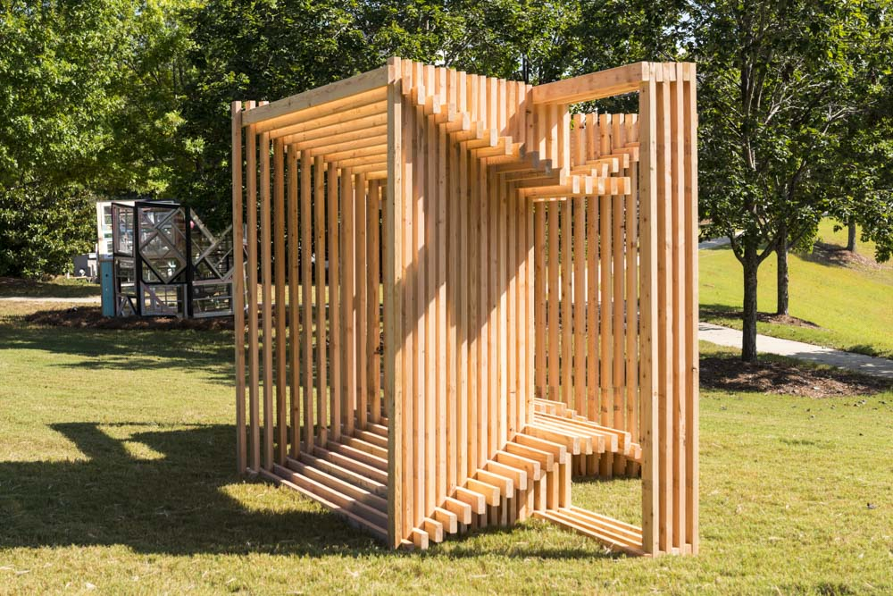Matthias Neumann (New York, b. 1969) Double-bench VI (basics), 2017 Wood (2 x 4s)