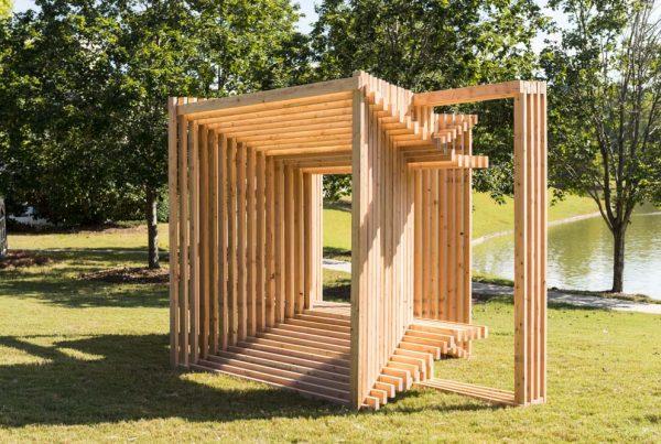 Matthias Neumann (New York, b. 1969) Double-bench VI (basics), 2017 Wood (2 x 4s)