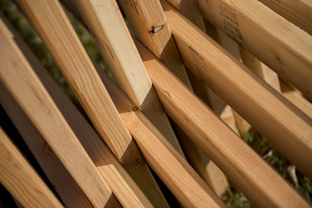 DETAIL: Matthias Neumann (New York, b. 1969) Double-bench VI (basics), 2017 Wood (2 x 4s)