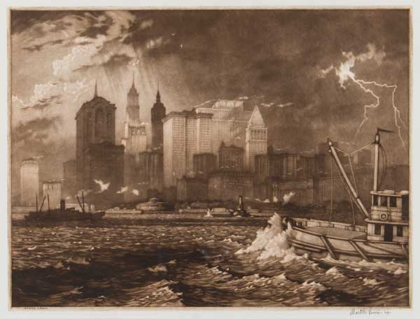 Martin Lewis (American, born in Australia, 1881–1962) Passing Storm, 1919 Mezzotint Jule Collins Smith Museum of Fine Art, Auburn University; museum purchase in commemoration of the 100th anniversary of the birth of Maltby Sykes 2012.13