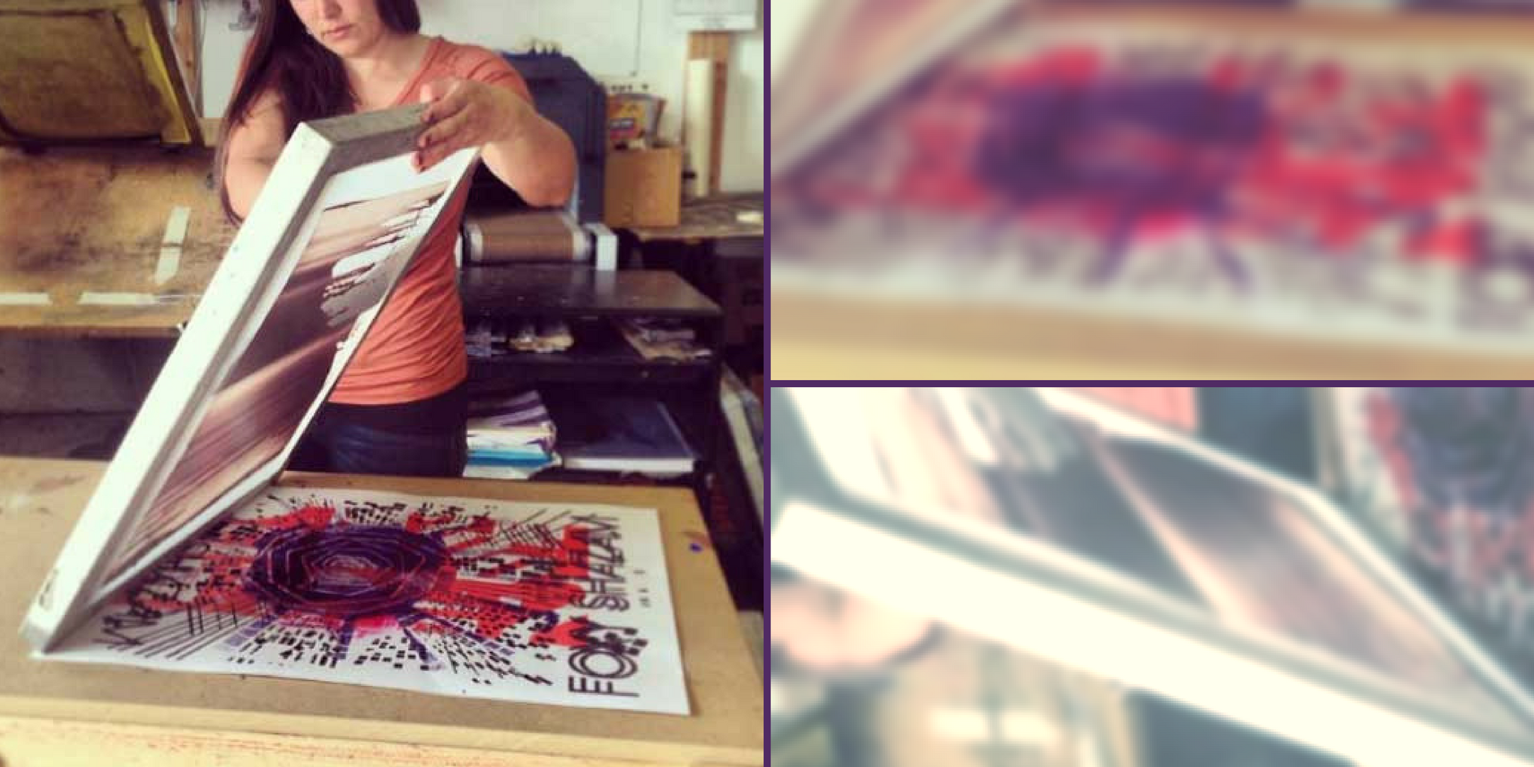 Woman Screenprinting and collage of image details