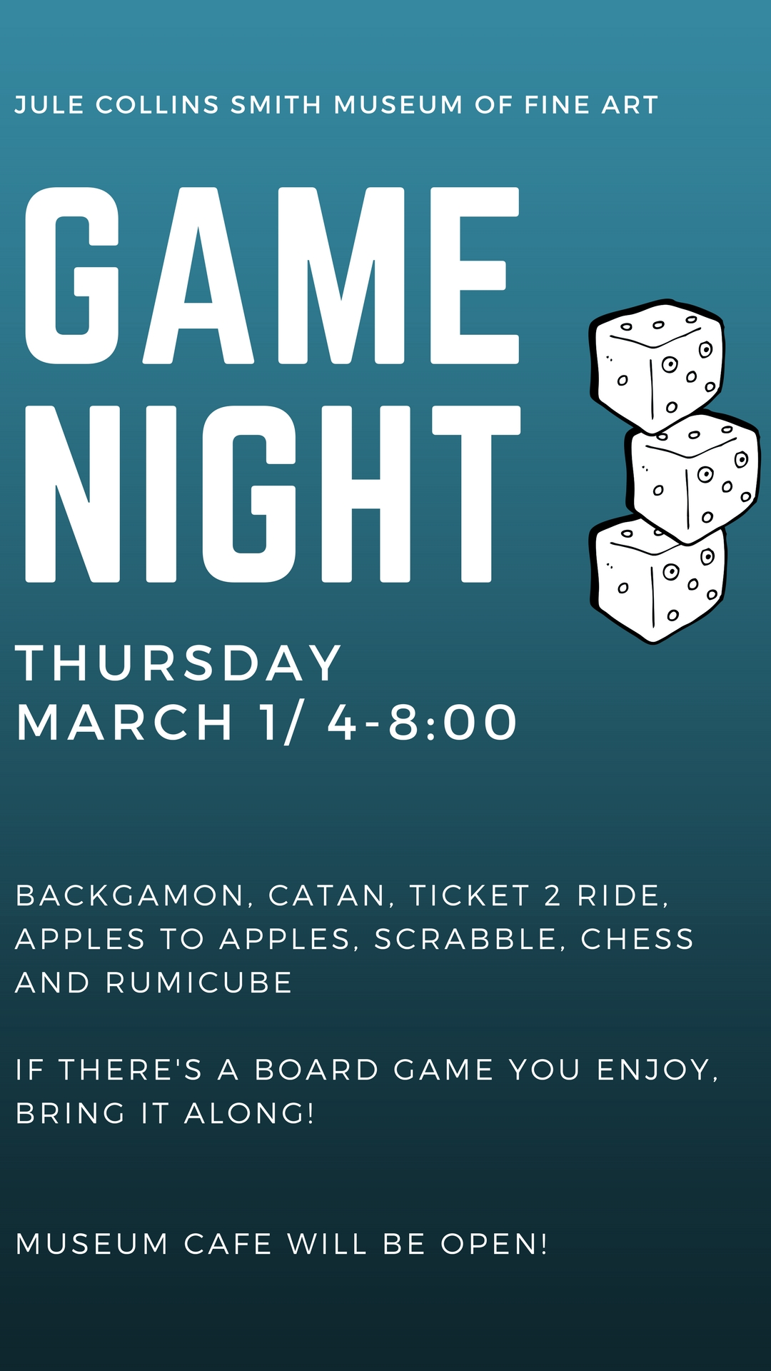 Promotional graphic for Game Night on Thursday, March 1, 2018 at 4 p.m.