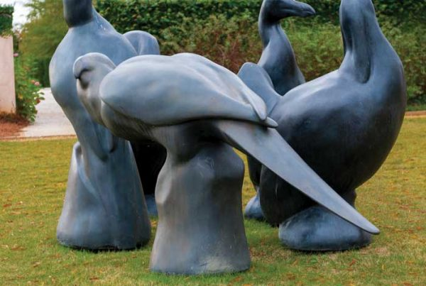 Series of bronze sculptures depicting bird form