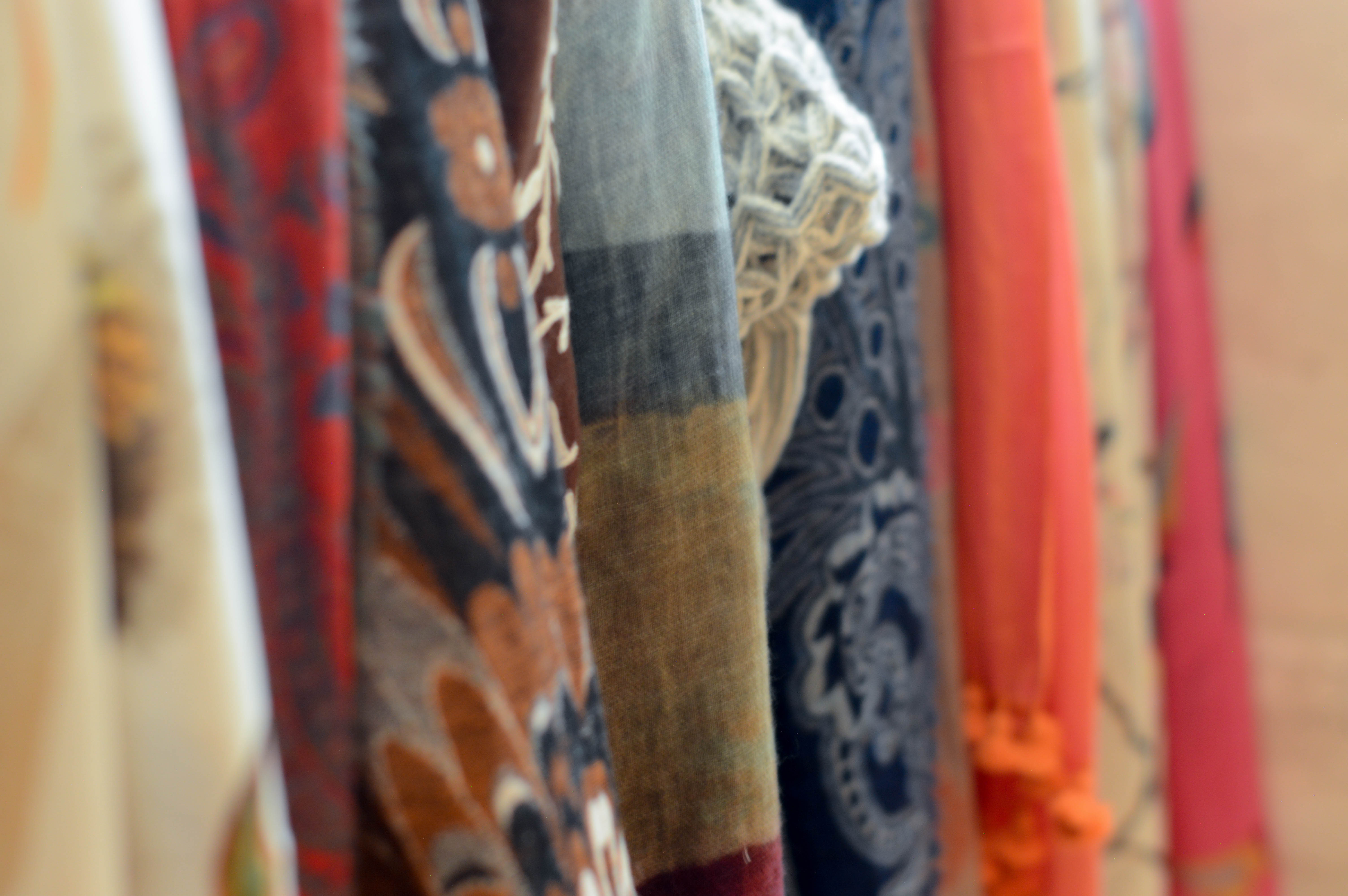 A display of scarves in the Museum Shop.