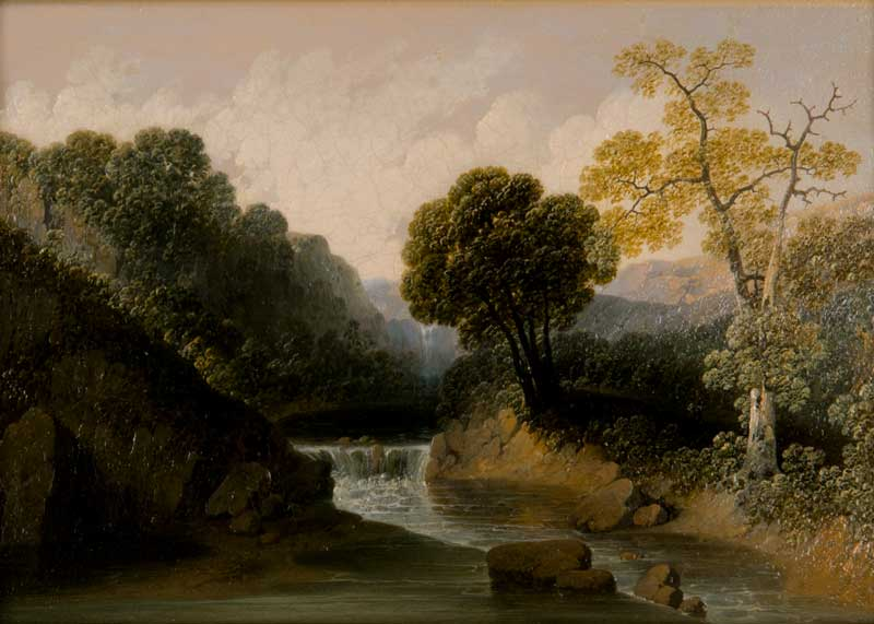 Joshua Shaw (American, 1776-1860) Stoney Creek, North Carolina, No. 3, n.d. Oil on paper laid down on panel Jule Collins Smith Museum of Fine Art, Auburn University; Gift of Jane and Mike McLain 2011.19.1