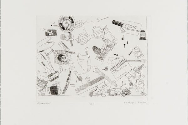 Beth Van Hoesen (American, 1926–2010) Drawer, 1961–72 Etching Edition: 16/35 6 5/8 x 8 ¾ inches
