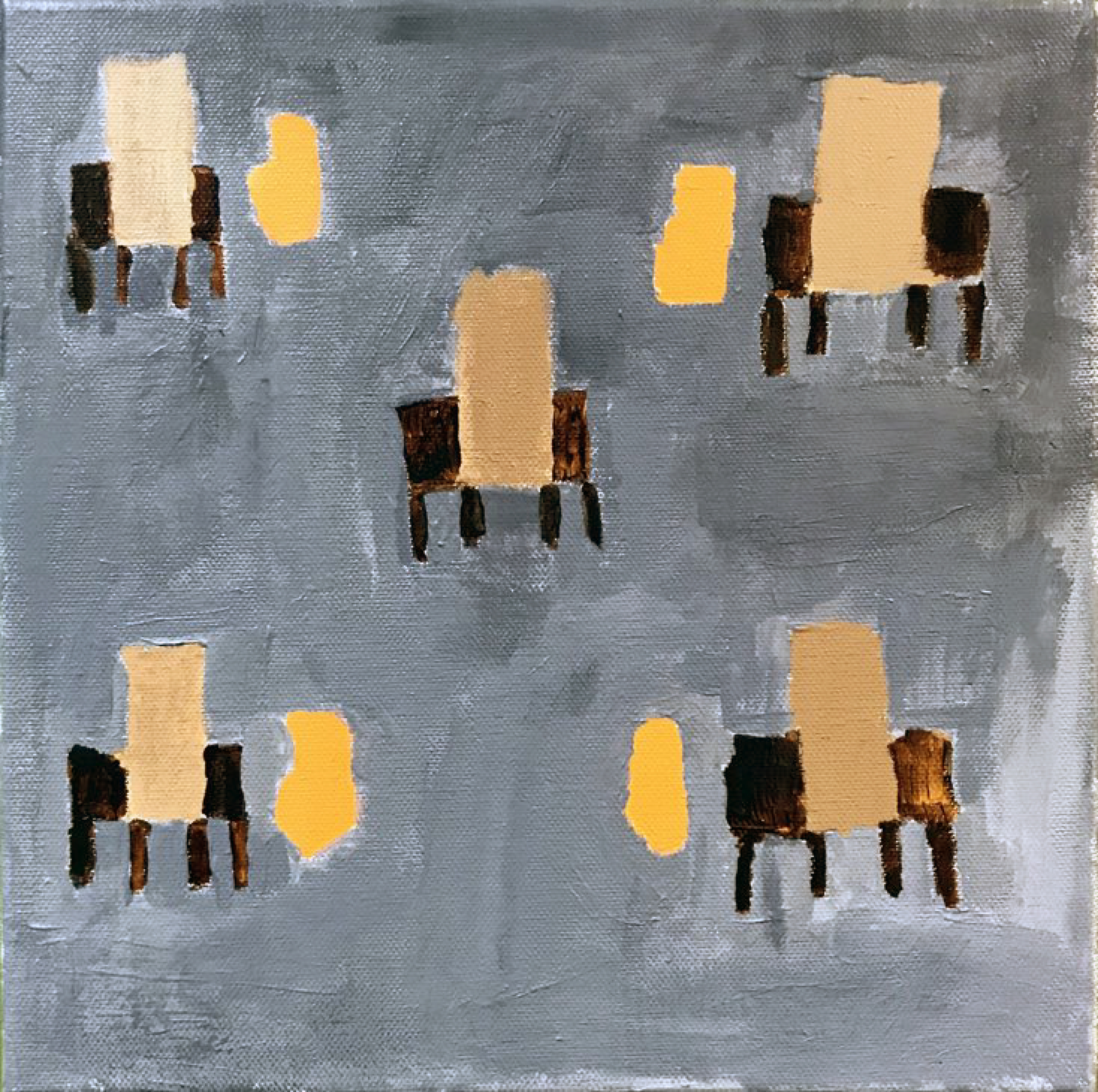 A painting with five desks. The background is solid gray, and four of the desks have orange backpacks next to them.
