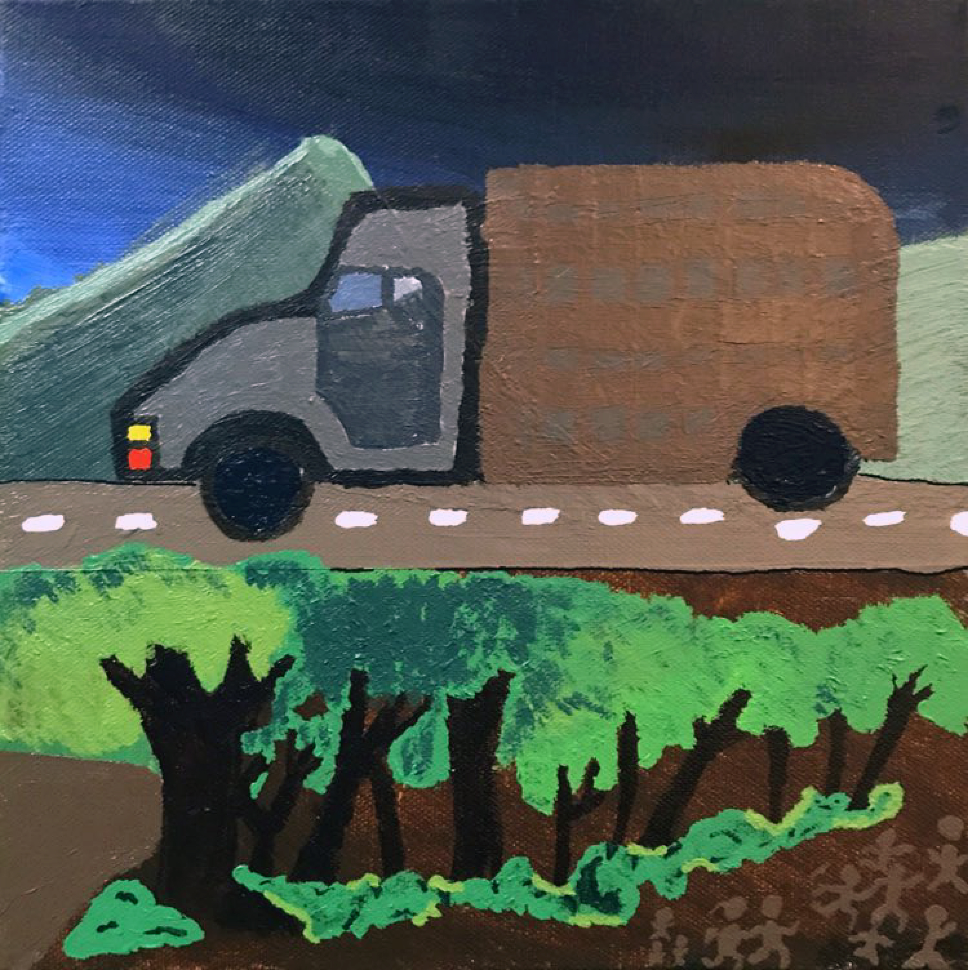 A truck drives down a road in front of mountains at night. Small figures are running on the bottom righthand corner of the painting.