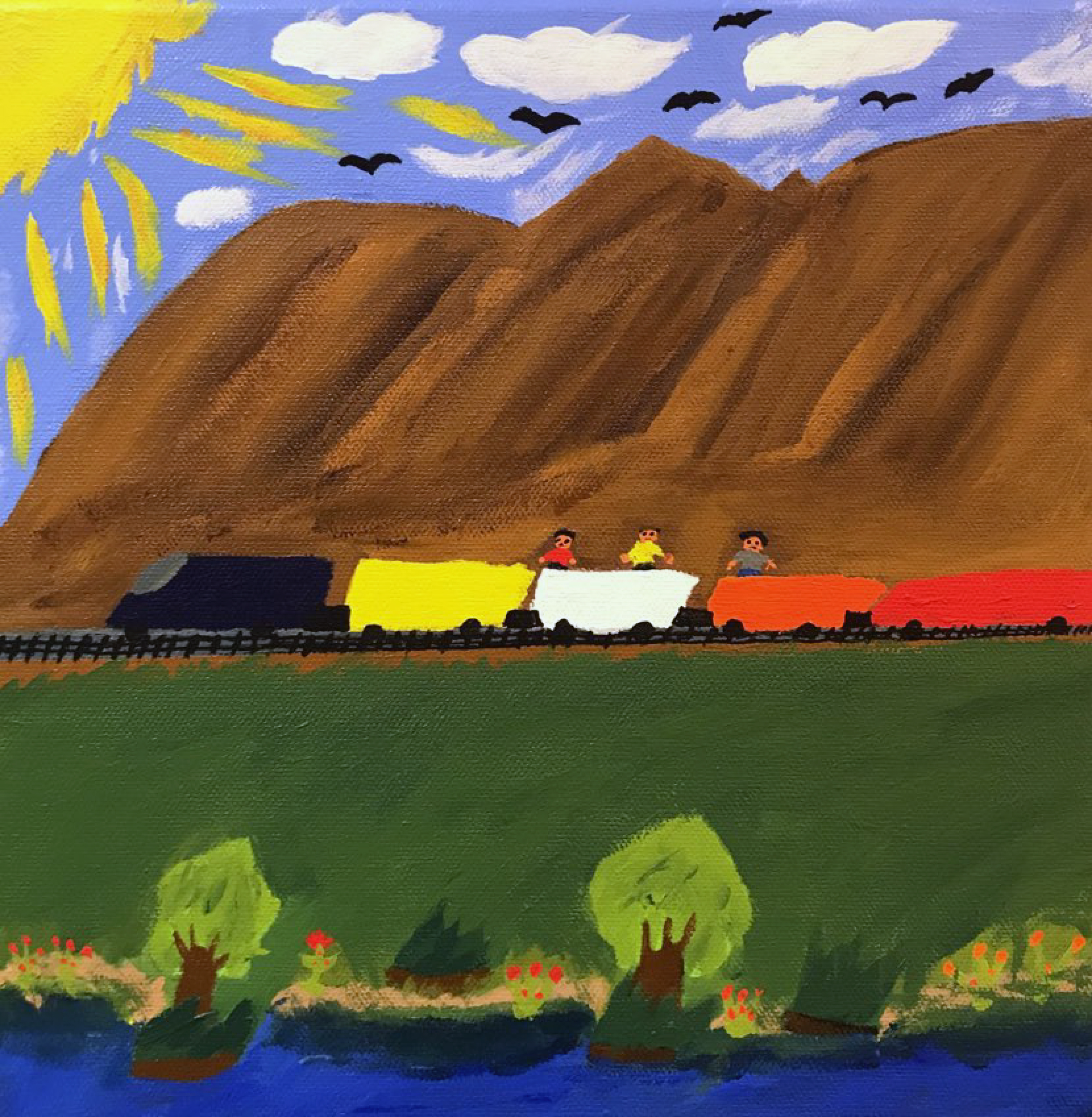 A train in front of mountains with three figures on top of the train. There is a sun in the lefthand corner, birds in the sky, and plants and a river at the front of the painting.