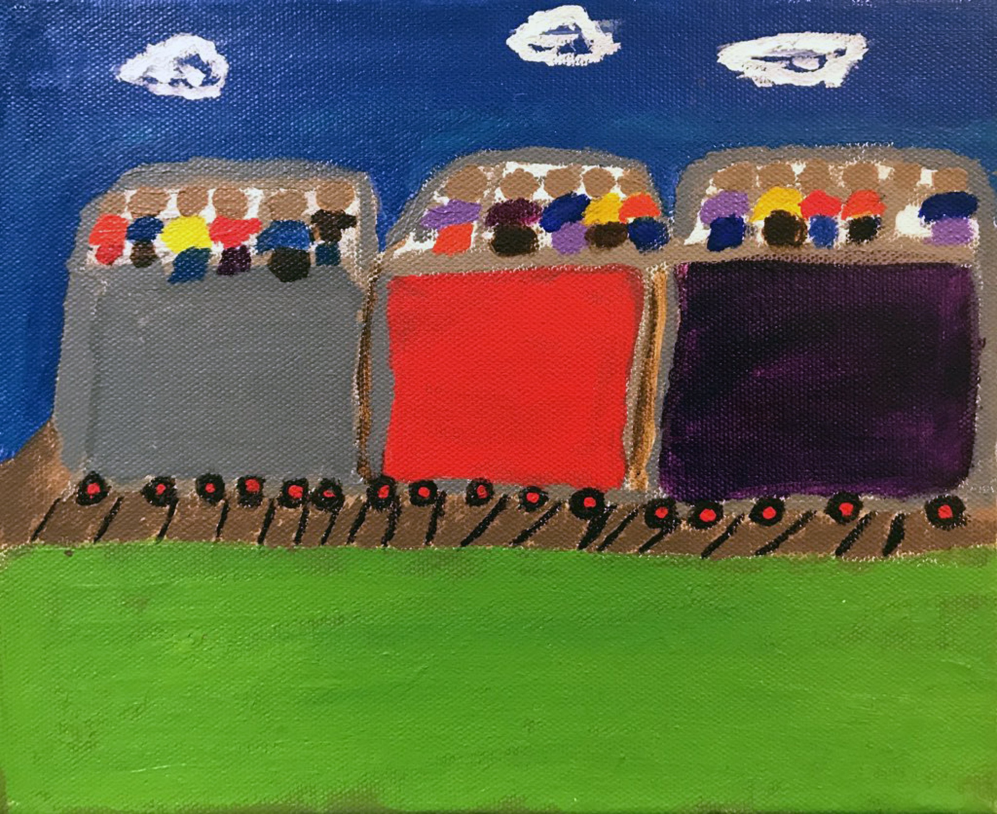 A painting with three train cars with small figures on top of the cars.