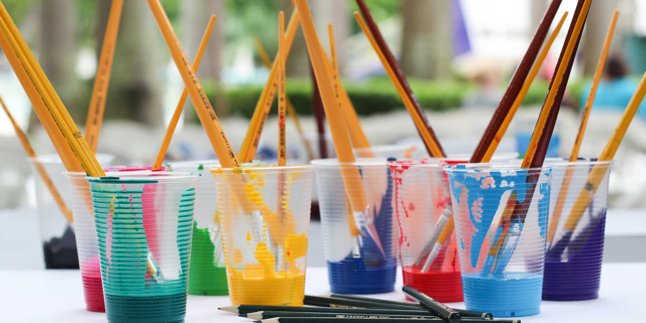 Paint brushes and pencils