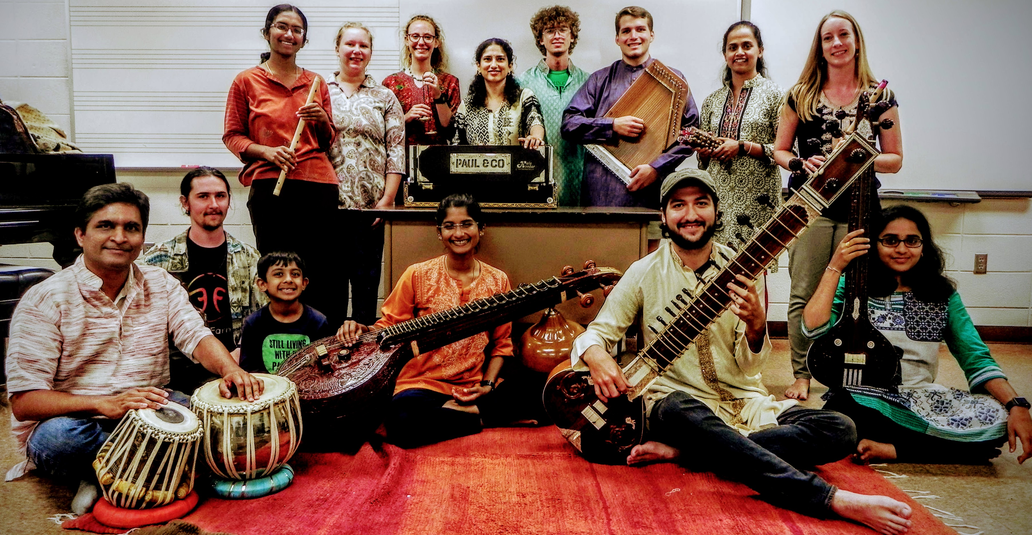 Members of the 2018 Auburn Indian Music Ensemble pose as a group.