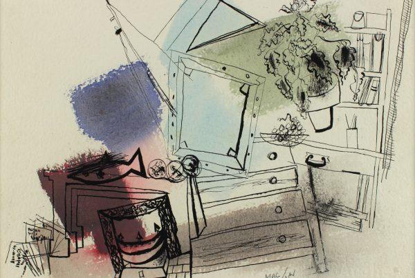 Loren MacIver Untitled Watercolor on Ink Paper